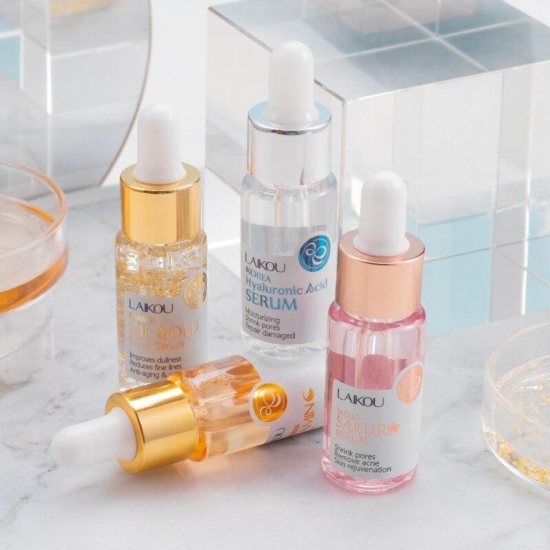 LAIKOU Serum Set Sakura Extract Shrink Pores Remove Acne Whitening 24K Gold Snail Essence Hyaluronatic Vitamin C Face Eyes Care