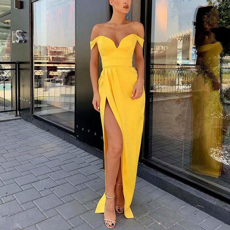 Yellow Side Slit Prom Party Evening Dresses Vestido De Noiva Sereia Gown Dress Robe De Soiree Vestido Novia Playa Sexy Pleat