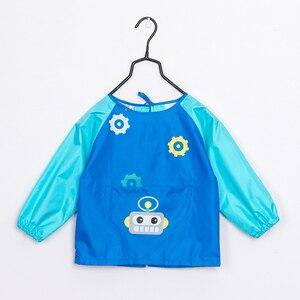 Image 5 - Детский водонепроницаемый фартук с длинным рукавом, мультяшный рисунок, нагрудник для кормления, Детский фартук для рисования, пальто для детей, подарок на день рождения
