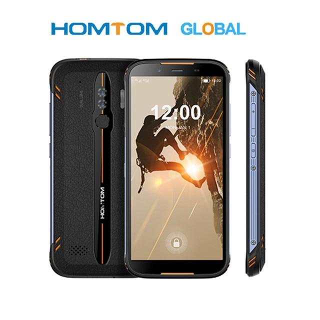 """Original homtom ht80 ip68 à prova dlágua smartphone 4g lte android 10 5.5 """"18:9 hd + mt6737 nfc carga sem fio sos telefone móvel"""