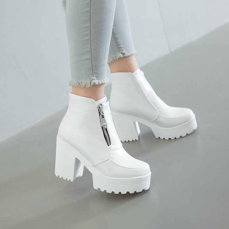 ฤดูหนาวสีขาวแพลตฟอร์ม Wedges รองเท้าส้นสูง chunky รองเท้าผู้หญิงซิปด้านหน้าผู้หญิงรองเท้าข้อเท้ารองเท้า PLUS ขนาด dropshipping 2019