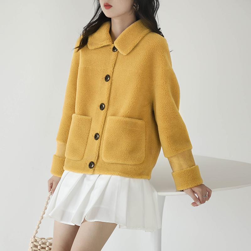 Fur Shearling Sheep Coat Female Jacket 2020 Autumn Winter Jacket Women Lamb Fur Korean Wool Coats Abrigo Mujer MY3541 S