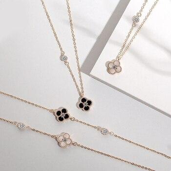 925 joyería de plata de ley estilo italiano blanco y negro Shell pulsera de trébol de cuatro hojas y collar conjunto de joyería para mujer