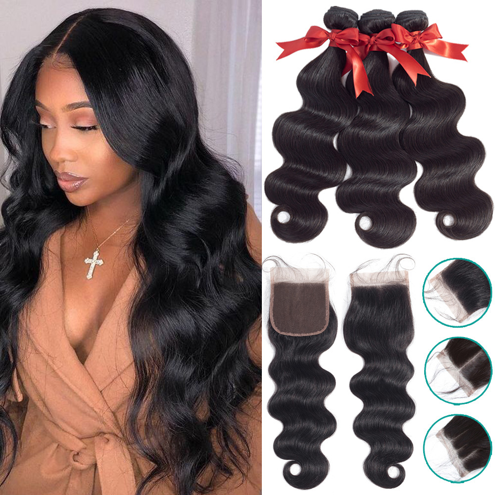 Brazilian Hair Weave Bundles With 4*4 Lace Closure Human Hair Bundles With Closure Non-Remy Body Wave Fashion Queen