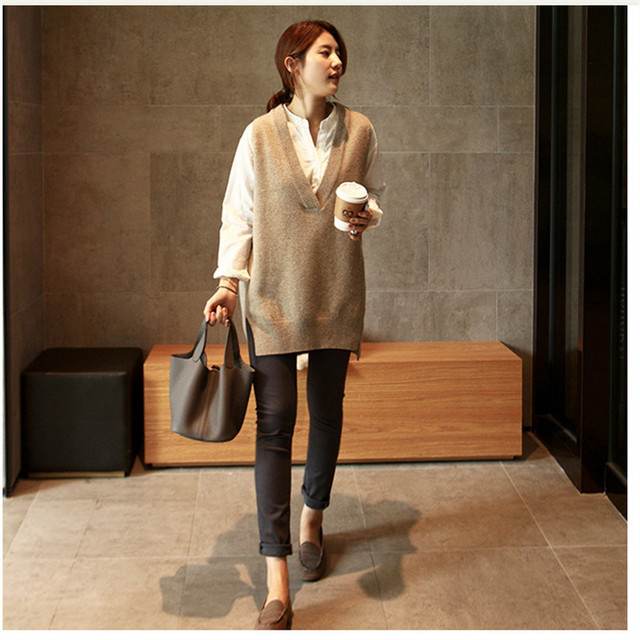 New V neck Girls Pullover vest sweater Autumn Winter Short Knitted Women Sweaters Vest Sleeveless Warm Sweater Casual oversize 6