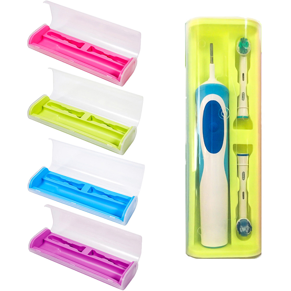 Food Grade PP + Rubber Toothbrush Holder Travel Portable Toothbrush Storage Box Cover Case For Oral-B Electric Brush image
