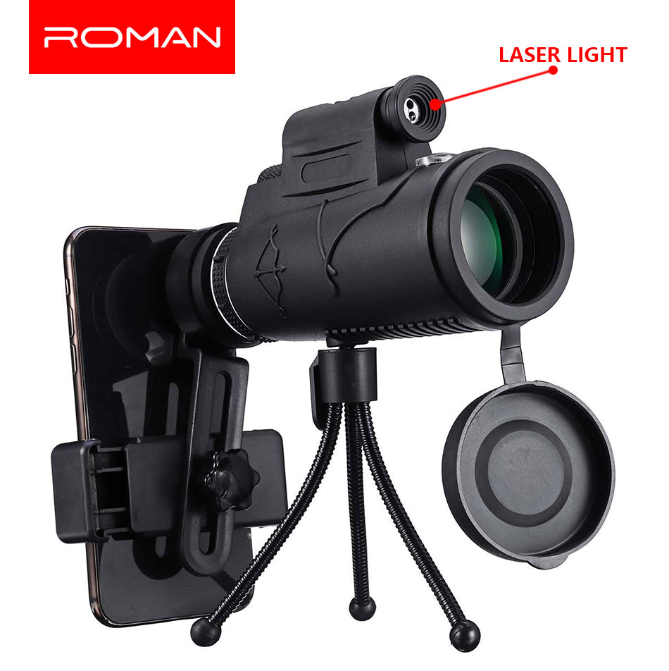 40X60 Zoom Laser/LED Monocular Telescope Telephoto Phone Camera Lens Tripod Kit Day & Night Vision HD Optics Zoom Telescope Lens