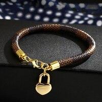 Classic-pulsera de cuero marrón para mujer, colgante de aleación de oro, bolso de amor, regalos de joyería