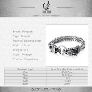 Image 5 - Fongten Retro Skull Punk Bracelet Men Stainless Steel Charm Sliver Bracelet Friendship Bracelets Wide Bangle Mens Jewellery