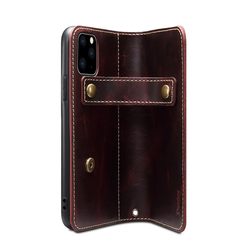 Premium Leather Magnet Button Flip Strap Case for iPhone 11/11 Pro/11 Pro Max 60