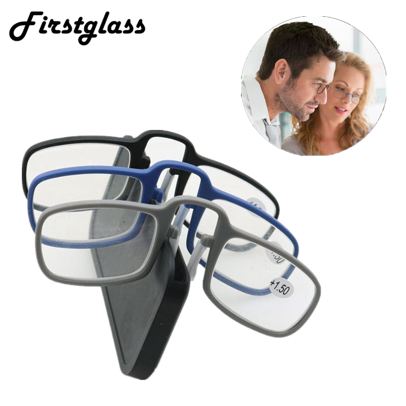 2019 Newest Mini Sticky Reading Glasses Nose Clip On Presbyopic Glasses Men's And Women's Glass Frame Black High Quality Unisex