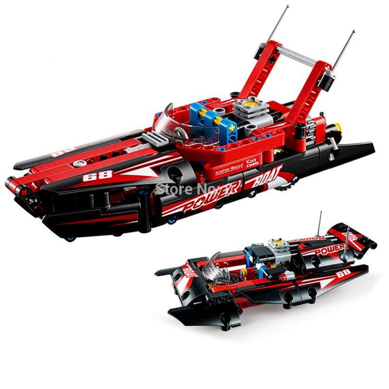 195pcs 2in1 technic speedboatvs hydroplane boat building blocks compatible lepininglys city <font><b>42089</b></font> Bricks Toys for children gift image