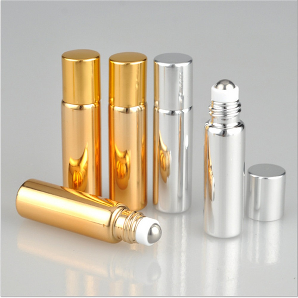 5ML Mini UV  Glass  Metal Roller Refillable Bottle Essential Oils Roll-on Glass Dispensing Perfume Bottles.
