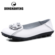 dongnanfeng women female old mother shoes flats loafers casual slip on cow genuine leather pu bow round toe spring 34 43 qbl 922 DONGNANFENG Women Mother Ladies Female Woman's Old Slip On Flowers Genuine Leather Shoes Flats Loafers Size 35-44 XHN-715
