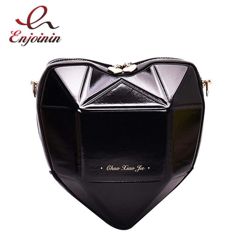 Geometric Heart Design Women Pu Leather Purses And Handbags Crossbody Chain Bag Shoulder Bag Ladies Clutch Bag Tote Bag Bolsa