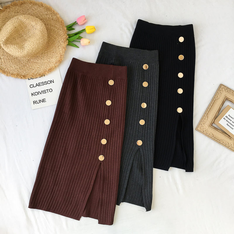 Winter Knitted Skirts Women High Waist 2019 Autumn Winter Elegant Button Knit Elastic Bodycon Sexy Split Skirt