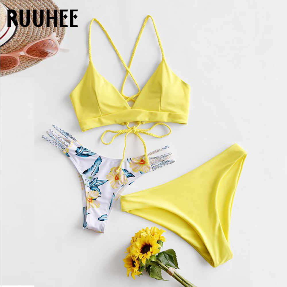 RUUHEE Three-piece Set Swimwear Sexy Bikini Women Swimsuit Bikini Set Bathing Suit Push Up Beachwear Female Brazilian Biquini