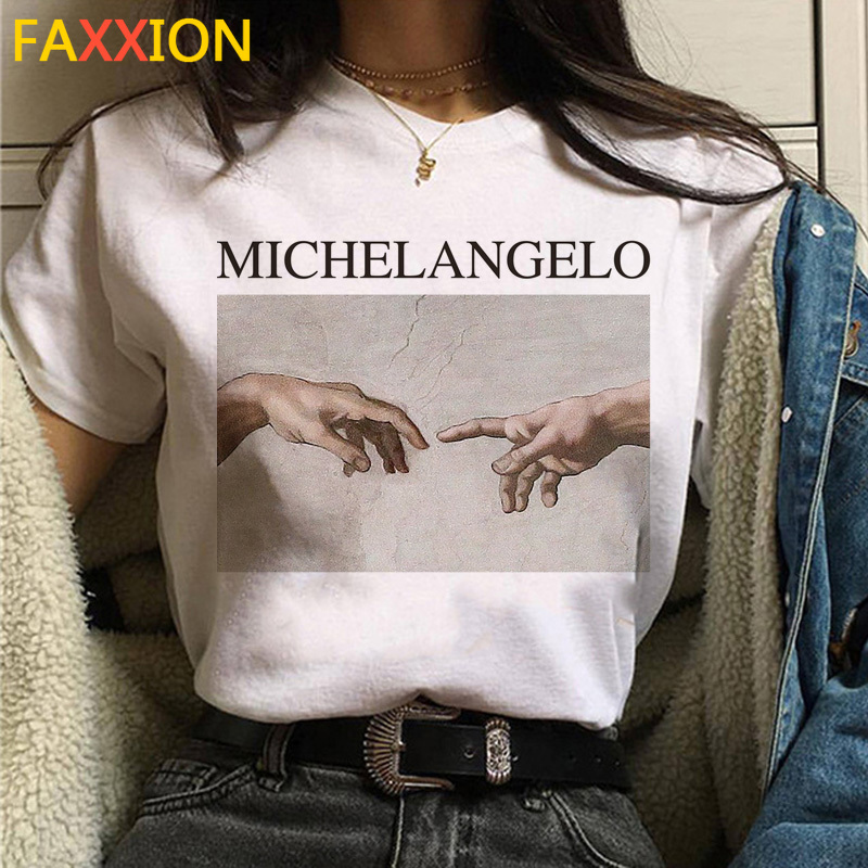 Aesthetic T Shirt Vaporwave Michelangelo Women Fashion New Femme Tshirt Casual Summer Graphic Hip Hop T-shirt Female
