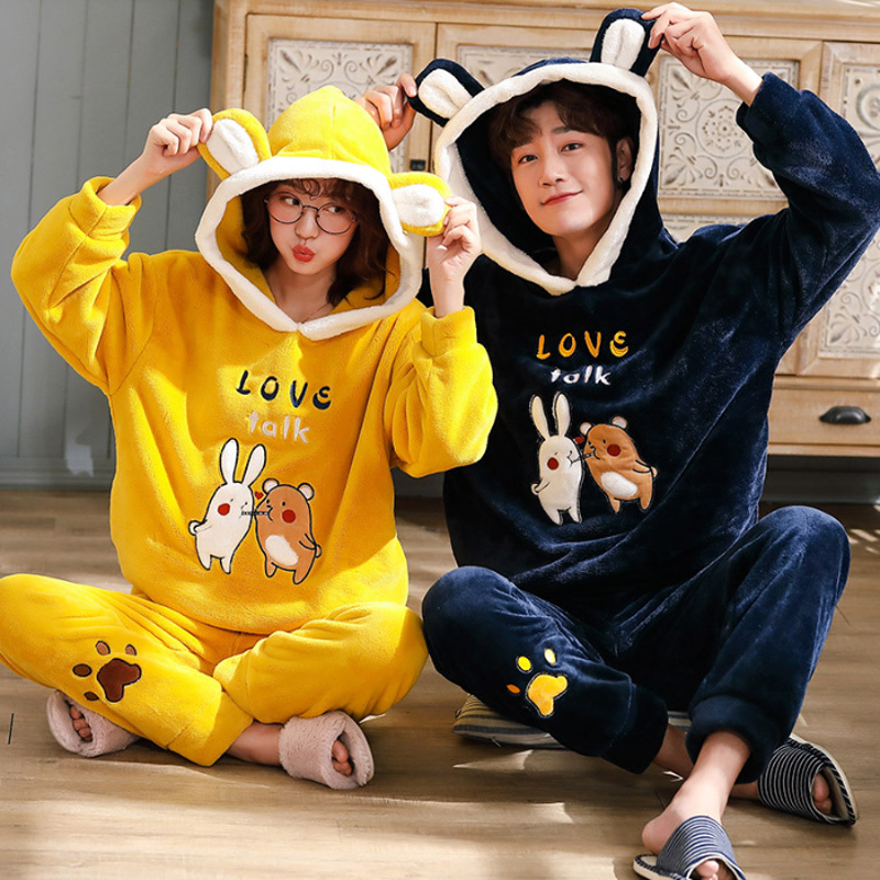 Unisex Adult Pajamas For Men Winter Couple Pajamas Warm Thicken Hooded Sleepwear Cute Cartoon Pyjamas 2 Pieces Men Home Clothes