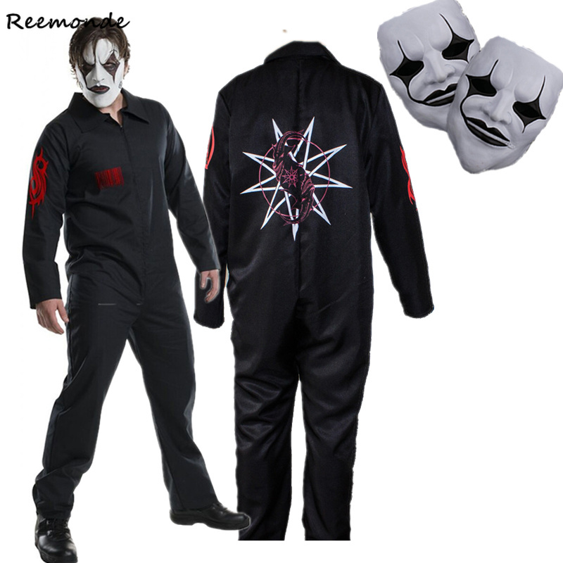 Band SlipKnot Heavy Metal Cosplay Costume Black Jumpsuit Sport Clothing Halloween Party Slipknot Mask Bodysuits Men Christmas
