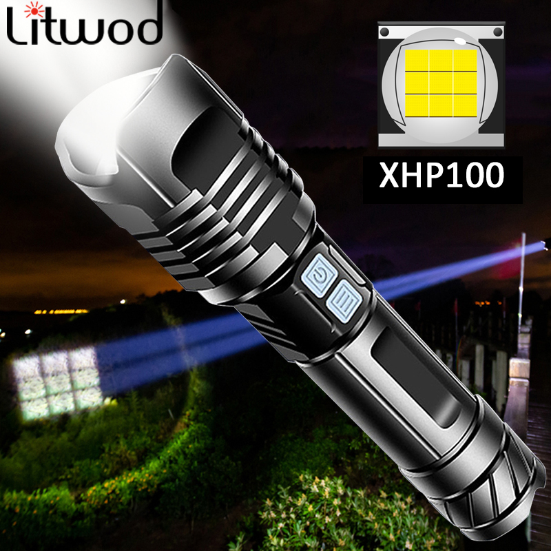 XHP100 Most powerful LED Flashlight Portable Ultra XHP70 Torch USB Rechargeable Zoomable Tactical Light 26650 Battey For Camping