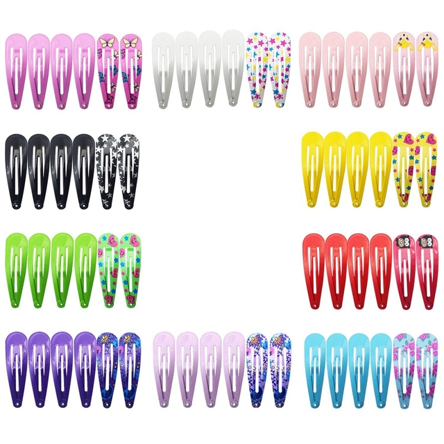 Hair Clips for Girls 100 Pcs No Slip Metal Snap Hair Clips Strips for Kids Teens Women Cute Candy Color Cartoon Design Hair Pins
