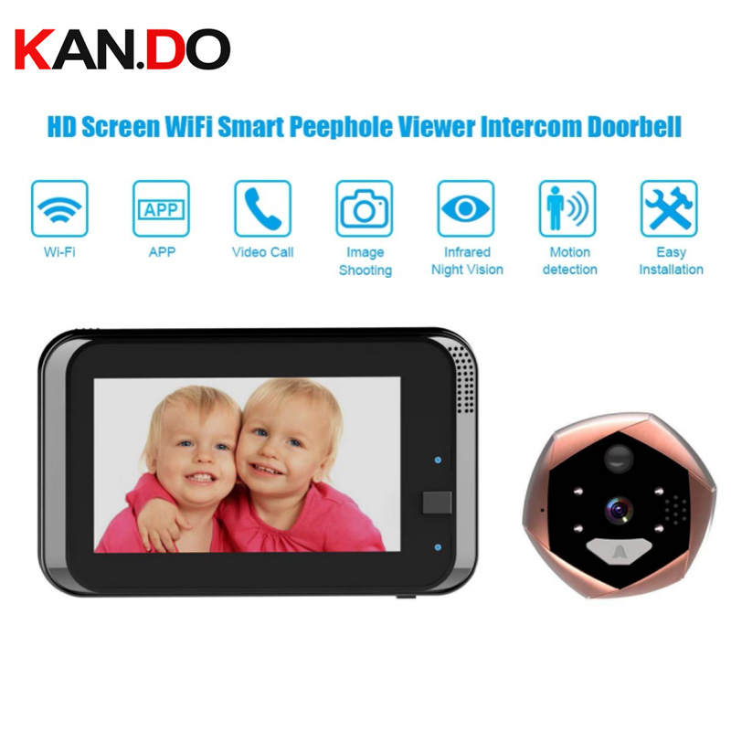 "720P 4.3"" HD Screen WiFi Smart Peephole Viewer camera Doorbell Home Visible Intercom Doorphone 4.3 Inch Video doorbell monitor"