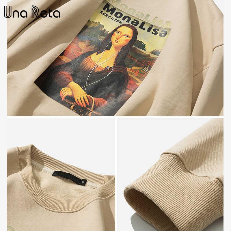 UnaReta Mona Lisa estampado polar hombres sudadera nuevo hip-hop pulóver Streetwear Sudadera con capucha Harajuku chándal hombres Casual Tops