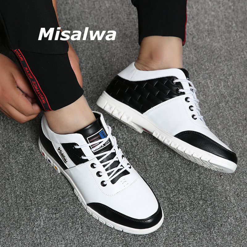 Misalwa Autumn Lace Up Leather Men Sneakers Male Invisible Height Increasing Elevator Shoes Taller White Casual Shoes New 5/7CM