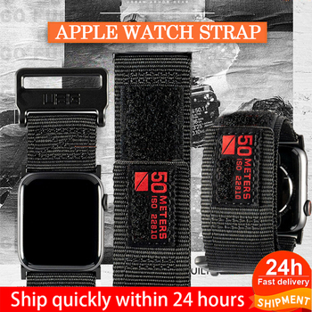 цена на 42mm 38mm waterproof Strap For Apple Watch bands 5 4  for iwatch 44 40mm nylon silicone watchband bracelet for apple watch  3 2