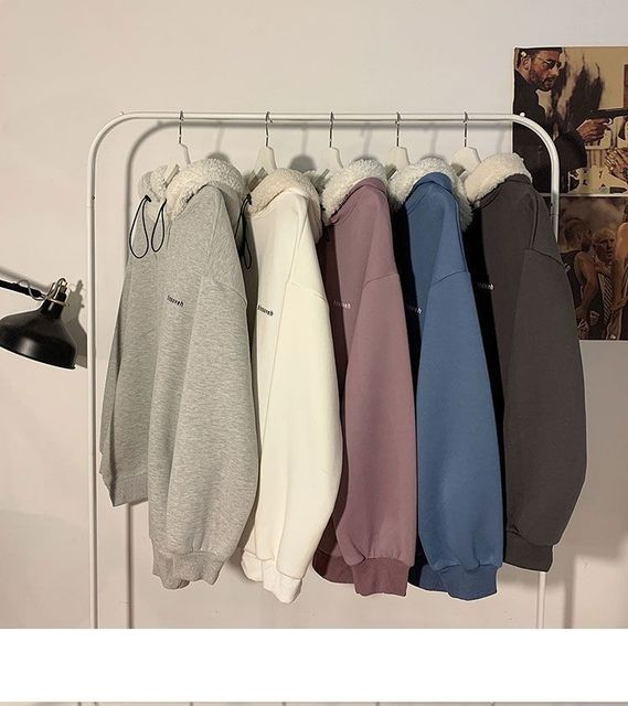 Autumn and Winter Lamb Plush Thickened Warm Hoodie Loose Solid Color Couple Pullover 2021 New Fashion Casual Coat 4