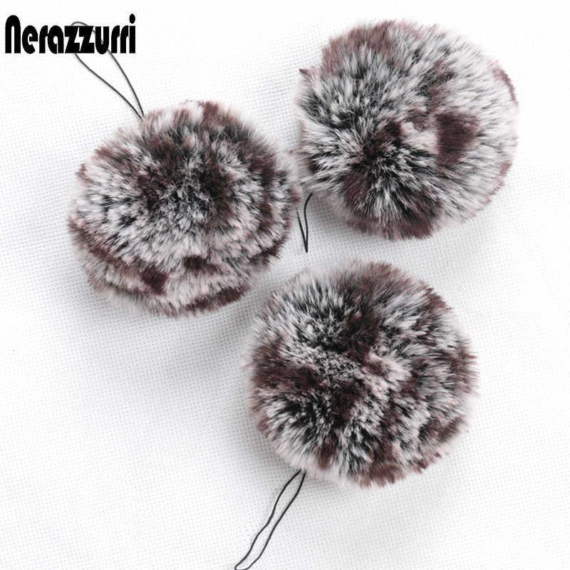 Nerazzurri fulffy Pompom móc khóa túi Charm Pompom trang trí cho Nữ Lông Xù Lông Thú Giả Pompom cho nón