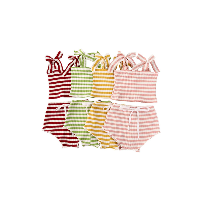 Summer Baby Clothing Set Toddler Gitls Ribbed Knitted Clothes Striped Bandage T-shirts And Shorts Pants Infant Girls Clothes