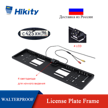 Hikity EU Car License Plate Frame Rear View Camera HD 170 Degree Night Vision Waterproof Auto Reversing Camera Parking Assist