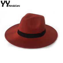 Elegant Orange Wool Fedora Hat for Women Autumn Vintage Tril