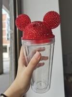 プラスチック製のダブルウォールカップ,500ml,透明,ダイヤモンド,マウス,耳付き,ジュース用,夏用,ギフトアイデア