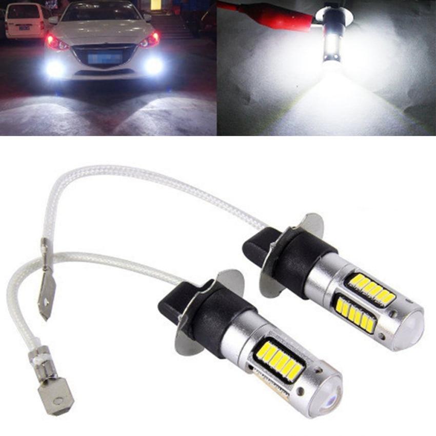 2 шт. H3 H1 6 Вт 12-24 V Белый Автомобильный светодиодный противотуманный светильник высокого Мощность автомобиля светодиодный туман светильник ...