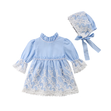 New Princess Girl Blue Lace Dress Kid Baby Girls Lace Floral Long Sleeve Party Wedding Dress+Hat Children Fashion Clothes baby favorite long sleeve pirncess girls dress floral wedding party thick dress for winter new year gift for baby girl children