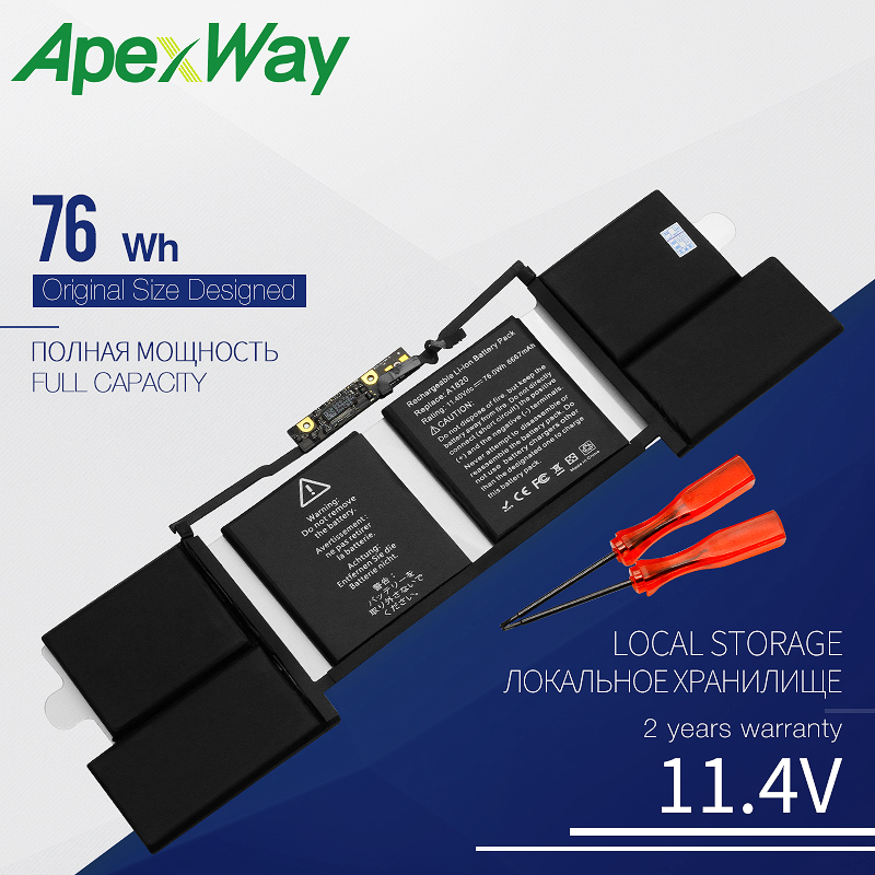 Apexway 76WH 11.4V A1820 LAPTOP Battery For APPLE MACBOOK PRO 15 A1707 2016 2017 YEAER with Tools Screwdriver Battery image