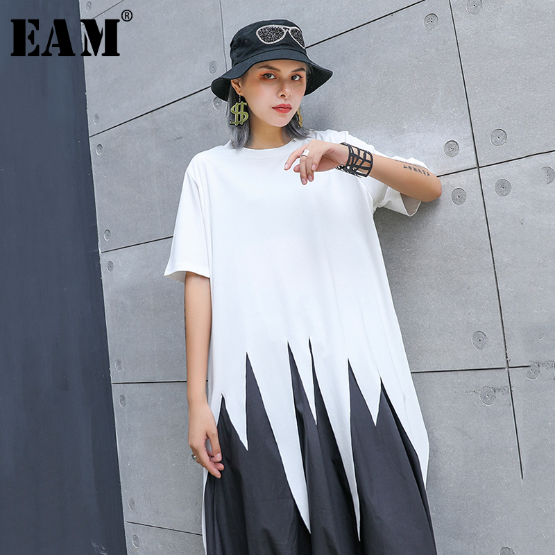 [EAM] Women Asymmetrical Hemline White Big Size T-shirt New Round Neck Short Sleeve Fashion Tide Spring Summer 2020 1S060