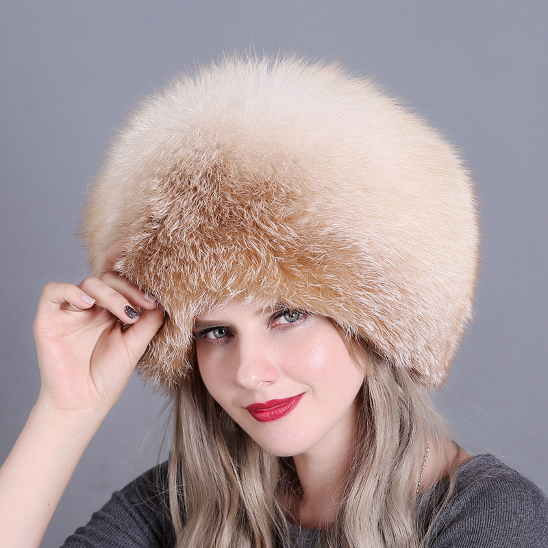 Women Winter Natural Real Fox Fur Hat 100% Cap Quality Russia Warm Caps Bomber Hats