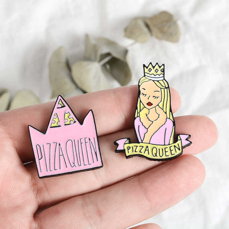 Pizza queen Risvolto Spilli Corona Pianeta Cuore tacchi Alti Spille Distintivi e Simboli Zaino Accessori Spilli Gioielli Regali Per La pizza Amici