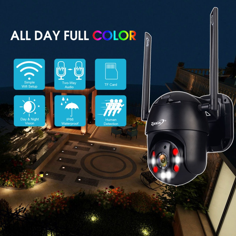 H0c601e01c1c24f168473289e6b56ceff8 Zjuxin PTZ IP Camera WiFi HD1080P Wireless Wired PTZ Outdoor CCTV Security Camra Double light human detection AI cloud camera