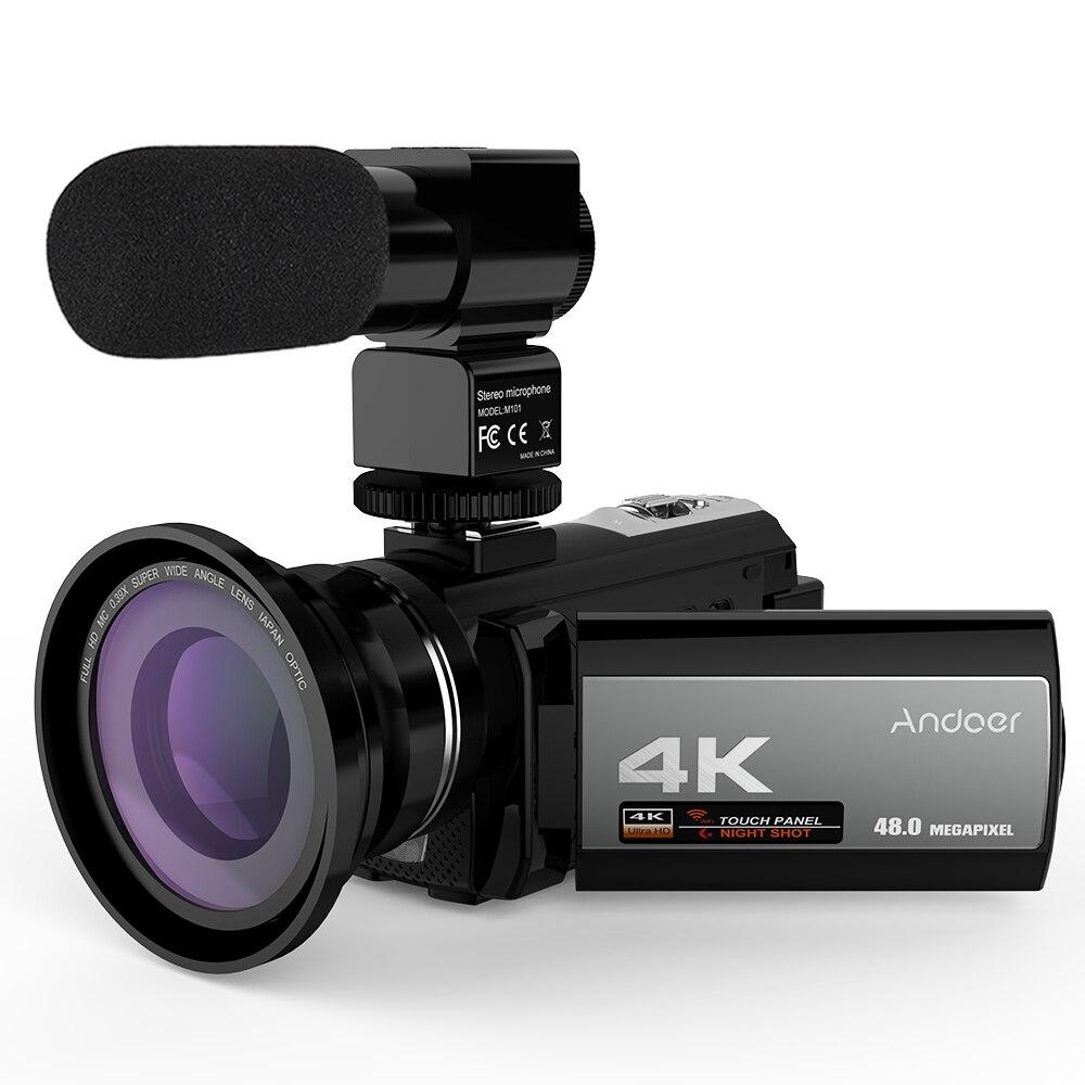 Andoer caméra vidéo Portable maison 4K 48MP WiFi caméra vidéo numérique caméscope avec Microphone externe 0.39X objectif grand Angle