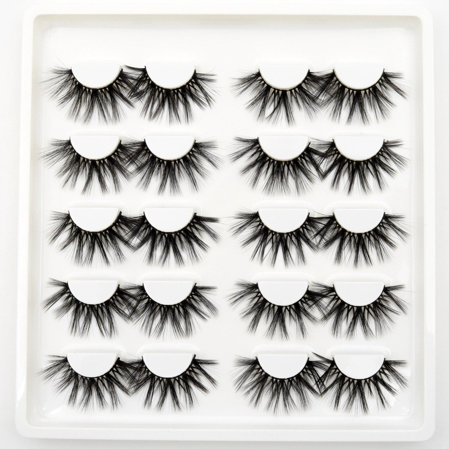 10 Pairs Eyelashes Wholesale Handmade Mink Eyelashes 3d Mink Hair Lashes Dramatic Lashes Makeup 3d High Volume False Eyelashes