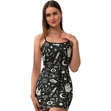 Halloween Dress Tight Printed Date Bodycon Tight Girl Polyester Retro One-Piece