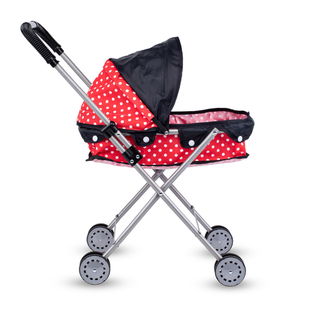 Simulation Foldable Dotted Baby Doll Stroller With Hood Kids Playhouse Toys 4