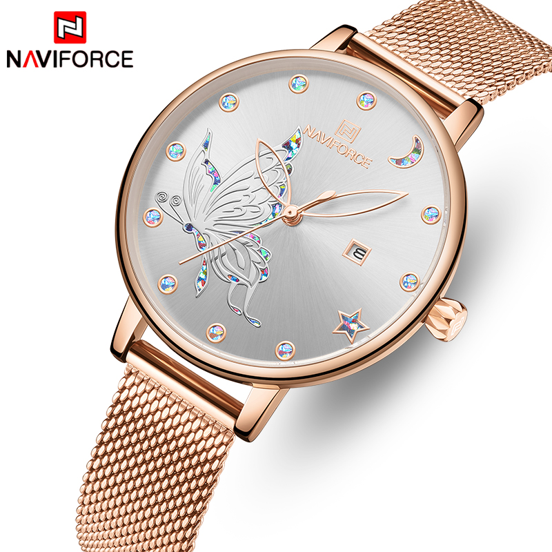 NAVIFORCE Luxury Crystal Watch Women Top Brand Rose Gold Steel Mesh Ladies Wrist Watches Bracelet Girl Clock Relogio Feminino 1