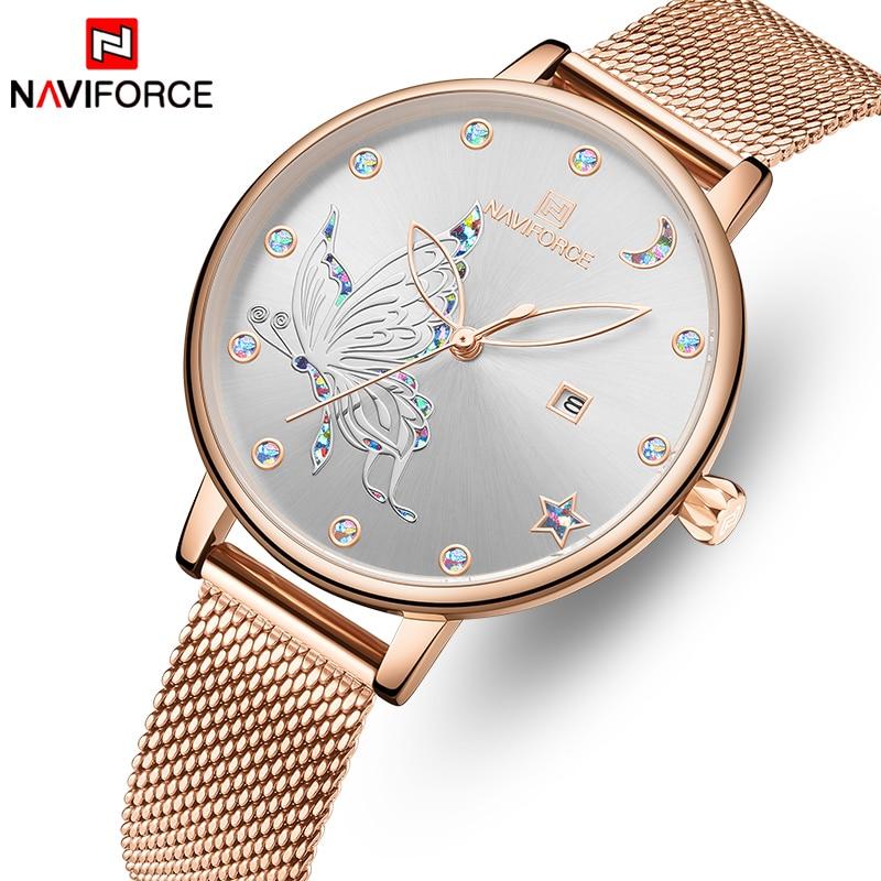 NAVIFORCE Luxury Crystal Watch Women Top Brand Rose Gold Steel Mesh Ladies Wrist Watches Bracelet Girl Clock Relogio Feminino