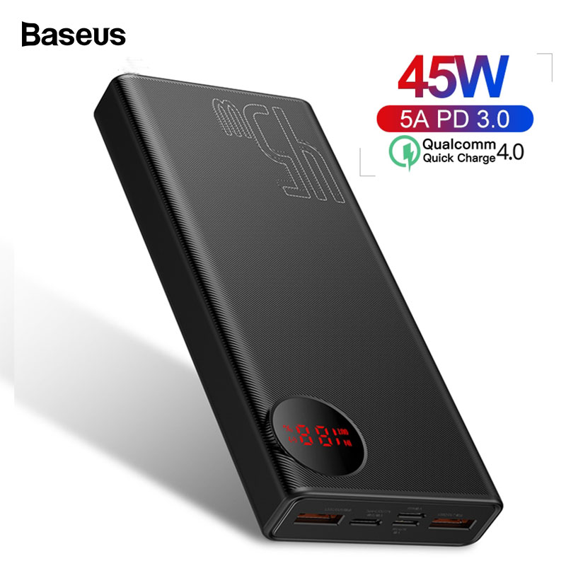 Baseus 20000mAh Quick Charge 4.0 3.0 Power Bank PD 45W 20000 MAh Powerbank For IPhone Xiaomi Huawei 5A External Battery Charger